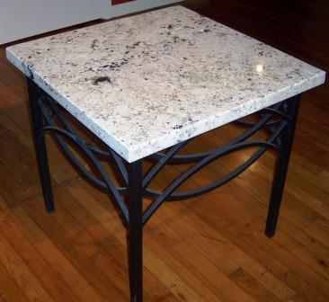 Elegant End Table Wrought Iron / Granite Top